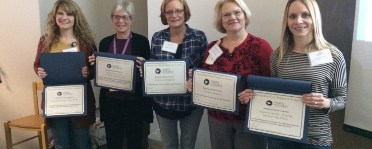 Photo shows April Buescher, Essentia Health – Deer River Pam Galle, Healthy Northland Mary Belz, Riverwood Hospital Sandy Carlson, St. Luke's Hospital Jill Devich, Essentia Health –Virginia Medical Arts Clinic with awards
